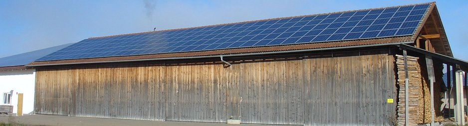 Large barn with solar panel roof