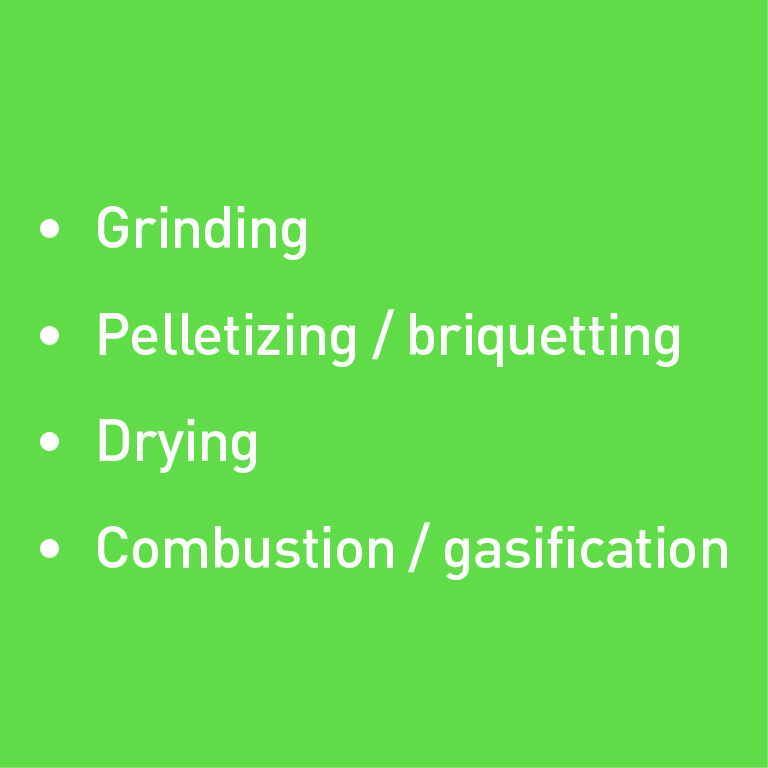Grinding, pelletizing/briquetting, drying, combustion/gasification