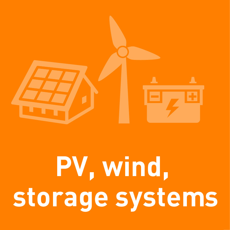 PV, wind, storage systems